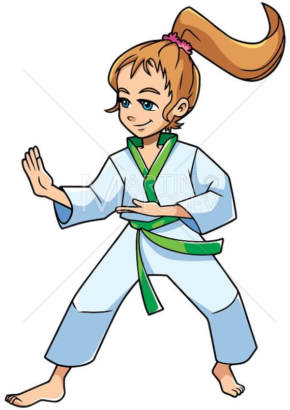 Karate Stance Girl Vector Cartoon Illustration Martial Etsy