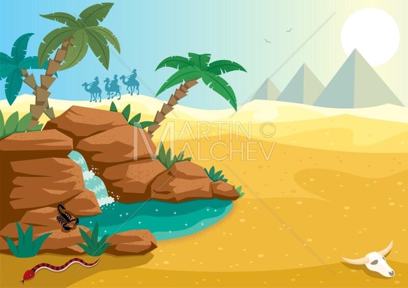 Desert Oasis Vektor Cartoon Clipart Illustration Desert Etsy