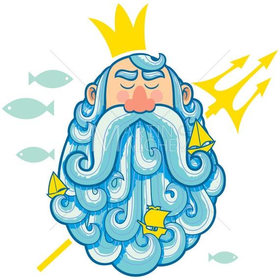 Neptune Portrait Vector Cartoon Illustration Poseidon God Roman Greek King Ruler Sailor Seaman Beard Face Sea