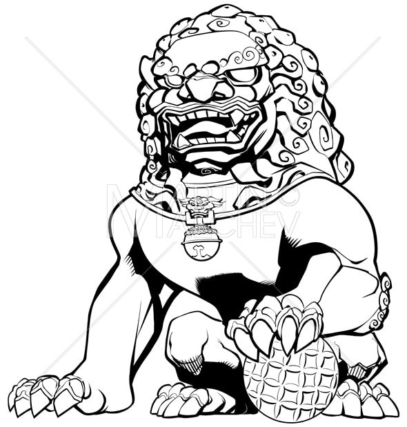 Chinese Lion Vector Illustration Guardian Imperial Foo Dog
