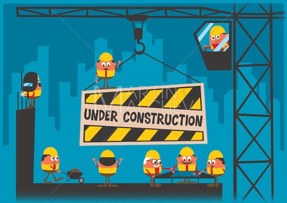 Under Construction Vector Cartoon Illustration Site Development Building Background Wallpaper Website Web Page Character Worker