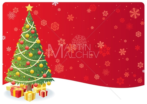 Christmas Tree Background , Vector Cartoon Clipart Illustration. landscape,  fir, gift, present, copy space, greeting, card, wallpaper, snow
