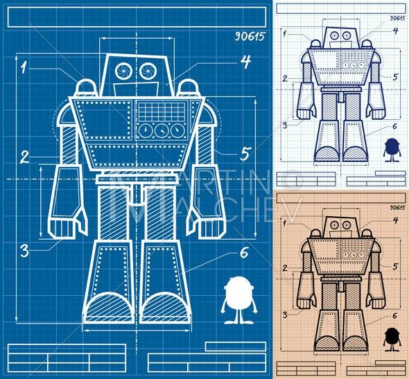 Robot blueprint cartoon vector cartoon illustration giant robot blueprint cartoon vector cartoon illustration giant transformer robotics plan draft drawing sketch engineering paper sheet malvernweather Gallery