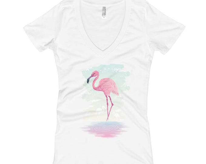 Flamingo Women's V-Neck T-shirt. shirt, tshirt, tee, gift, bird, tropical, animal, wildlife, pink, watercolor, drawing, zoology, biology,