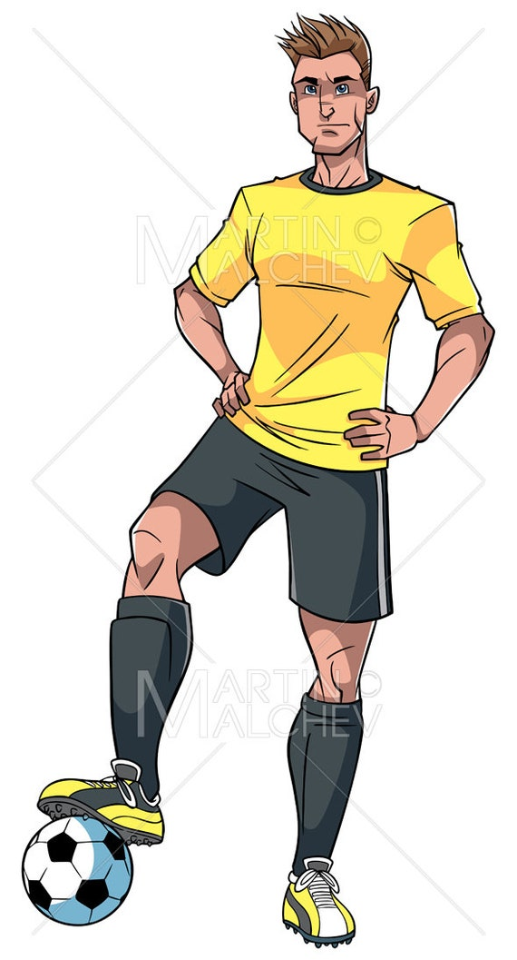 Joueur De Football Vector Illustration De Dessin Anime Etsy