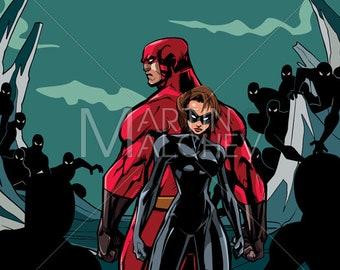 Superhero Couple against Minions - Vector Illustration. man, woman, hero, super, heroine, superheroine, together, confrontation, fight, evil