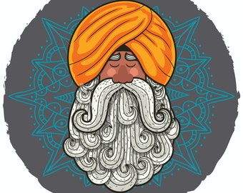 Guru - Vector Cartoon Clipart Illustration. indian, yogi, yoga, hindu, saint, bodhisattva, hermit, fakir, sage, elder,