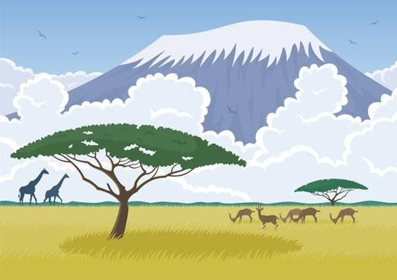 Africa Ilustración De Dibujos Animados Vectoriales Etsy