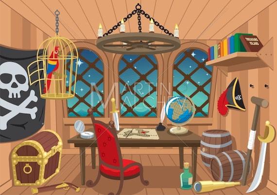 Captains Cabin Vector Cartoon Clipart Illustration Berth Etsy