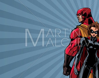 Superhero Couple Ray Light Background - Vector Illustration. man, woman, hero, super, family, heroine, superheroine, cape, abstract, love,