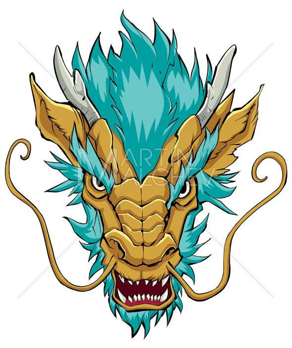 Chinese Dragon Head Gold Vector Illustration Face Chinese Asian