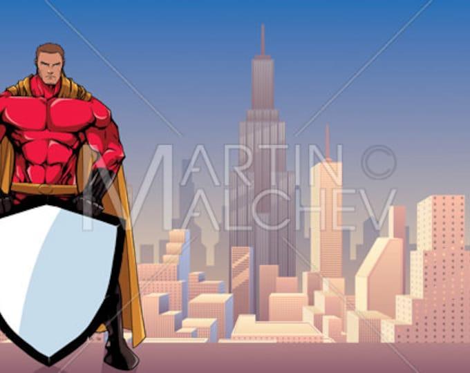 Superhero Holding Shield in City - Vector Illustration. super, hero, man, security, background, cityscape, landscape, copy space,