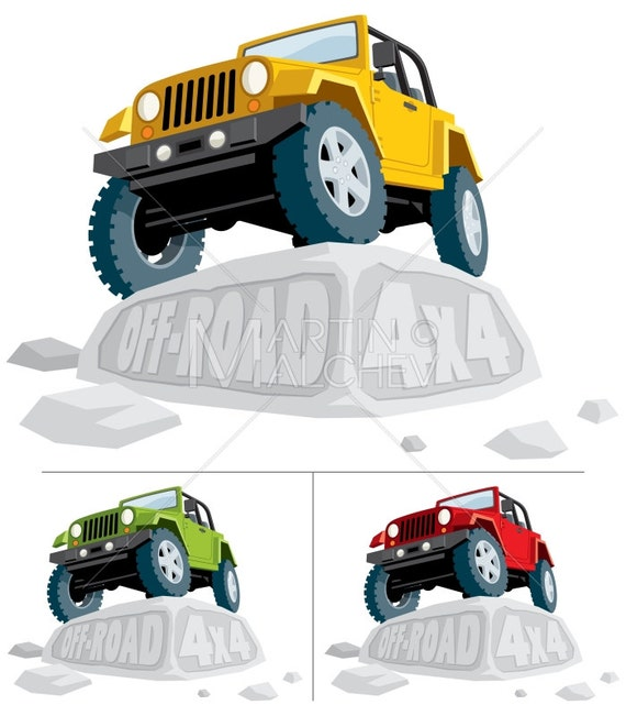 Off-Road 4x4 - Vector Cartoon Illustration  off road, jeep, vehicle, car,  land, yellow, green, red, stone, extreme terrain, extreme sport