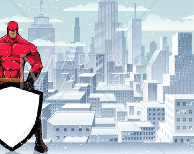 Superhero Holding Shield on Winter City - Vector Illustration.  super, hero, man, security, background, cityscape, urban, scene, snow