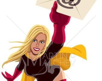 Superheroine Flying E-mail - Vector Clipart Illustration. superhero, female, super, hero, woman, girl, superwoman, mail, envelope, letter,