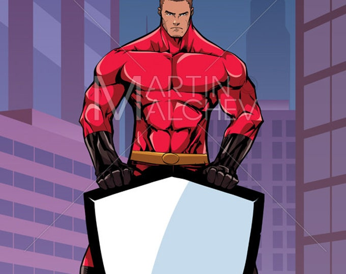 Superhero Holding Shield in City Vertical - Vector Illustration. super, hero, man, security, background, urban scene, landscape, copy space,