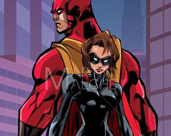Superhero Couple in City - Vector Illustration. man, woman, hero, super, couple, family, heroine, superheroine, cape, love, city, cityscape