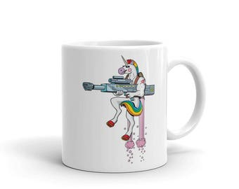 Unicorn Mug - unicorn coffee mug. badass, cup, portrait, cool, soldier, muscular, gift, bestfriend gift, tea, action figure,