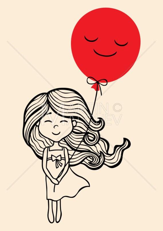 Petite Fille Vector Illustration De Dessin Animé Petit Enfant Ballon Long Cheveux Robe Doodle Croquis Dessin à La Main Dessiné