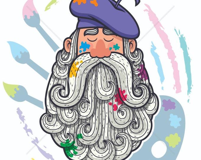 Bearded Artist Portrait - Vector Cartoon Clipart Illustration. painter, designer, painting, illustrator, beard, face, big, drawing, canvas,