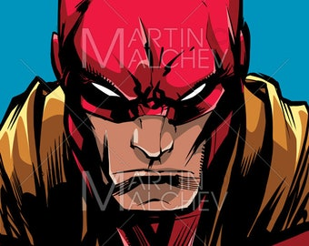 Superhero Portrait Line Art - Vector cartoon Illustration. hero, character, power, powerful, hand drawn, looking at camera, isolated, comics
