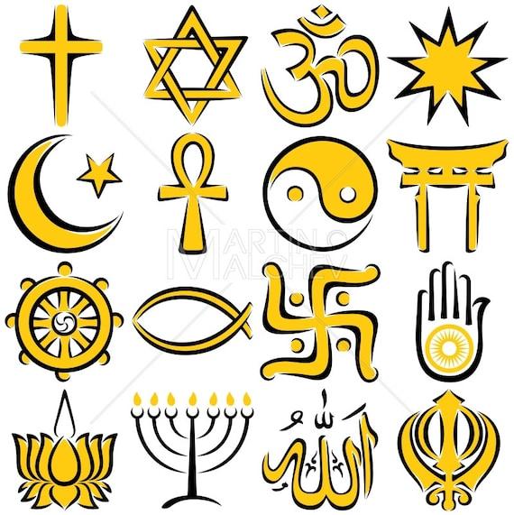 Religious Symbols Illustration Religion Symbol Set Icon Etsy
