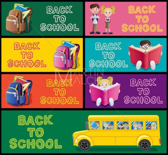 School Banner Set Part Vector Cartoon Illustration Back To Etsy