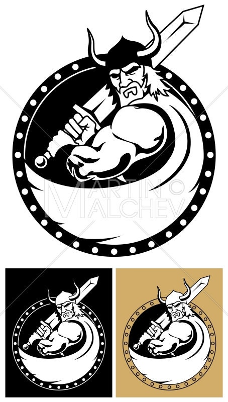 Viking With Sword Vector Cartoon Illustration Warrior Strength