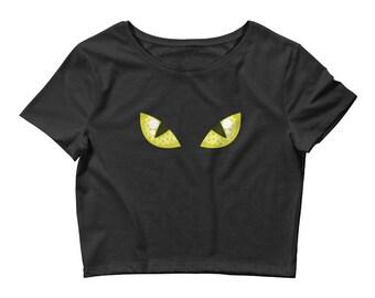 Black Cat Eyes Women's Crop Tee. shirt, tshirt, tee, gift, kitty, face, costume, halloween, bad luck, cat lover, cat person, avatar,