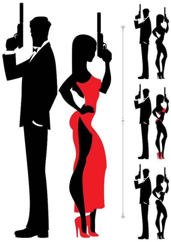 Spy Couple Vector Cartoon Illustration Secret Agent Couple Family 007 Man Woman Clip Art James Bond Detective Silhouette