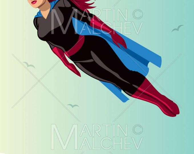Super Heroine Flying Sky - Vector Clipart Illustration. superhero, female, superheroine, hero, woman, girl, power, superwoman, sexy, hot,