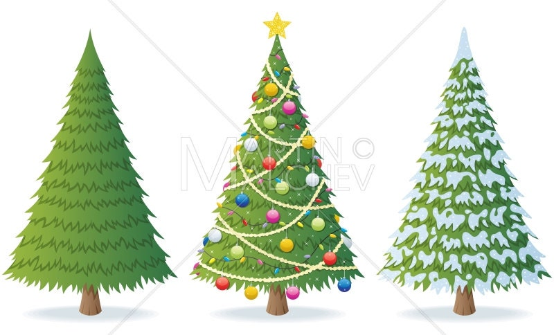 christmas tree vector cartoon clipart illustration fir fir tree pine spruce evergreen snow winter holiday season decoration