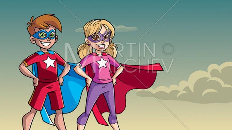 Kids IllustrationHeroHeroineBoyGirlKidSuperheroSuperheroineChildFriend Background Cartoon Super Vector Sky Little gvY76ybf