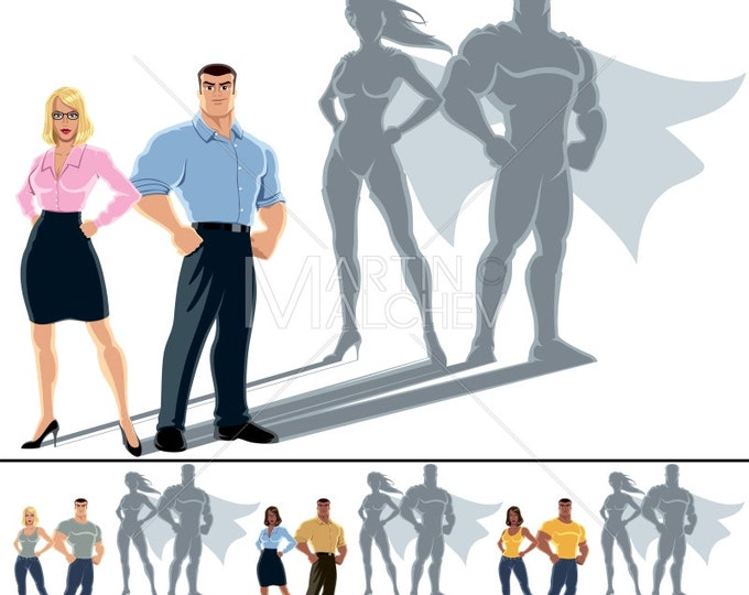 Couple Superhero Concept - Illustration. family, businessman, businesswoman, business, man, woman, superheroine, super, hero, superman,