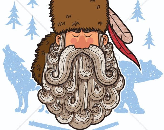 Bearded Trapper - Vector Cartoon Clipart Illustration. beard, hunter, character, mountaineer, man, portrait, face, american, mascot, symbol