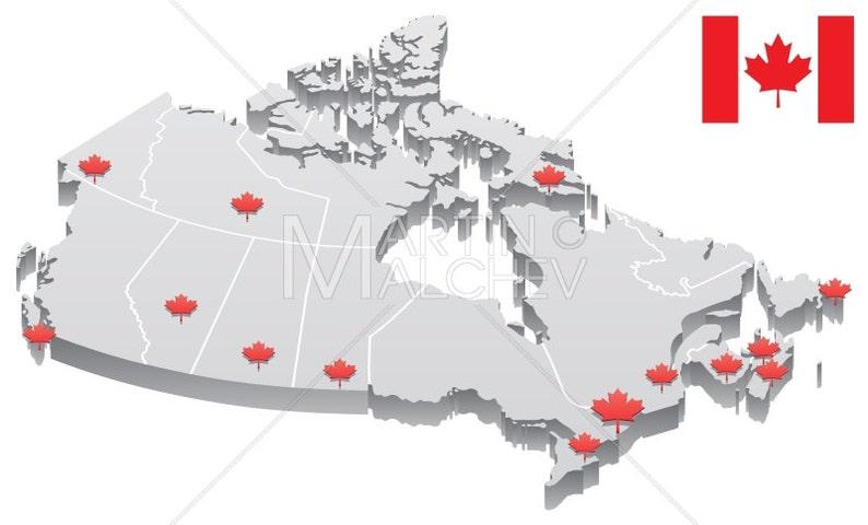 Canada Map Vector Cartoon Clipart Illustration 3d Capital Etsy