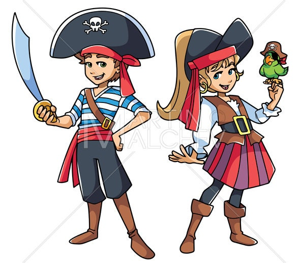 Pirate Kids Vector Cartoon Illustration. boy girl | Etsy