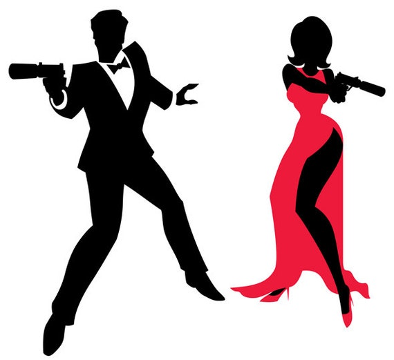 Spy Couple Vector Cartoon Illustration Secret Agent Family 007 Man Woman Clip Art James Bond Silhouette Secret Service