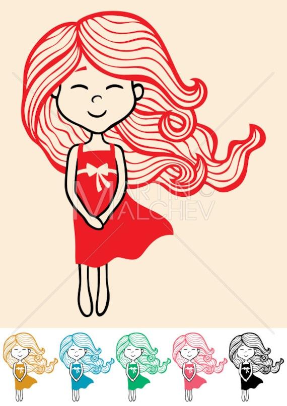 Petite Fille Vector Illustration De Dessin Animé Petit Enfant Long Cheveux Robe Doodle à La Main Dessiné Dessin Colorier Heureux