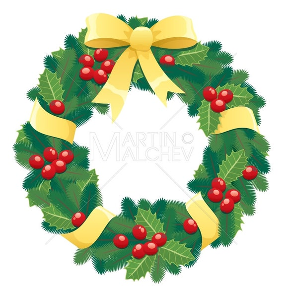 Christmas Wreath Vector Cartoon Clipart Illustration Garland Chaplet Christmas Bow Ribbon Pine Holly Berry Leaf Winter Holiday