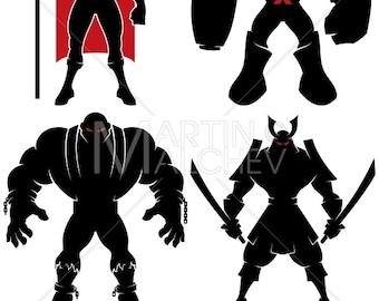 Supervillain Silhouette - Vector Illustration. super, villain, evil, power, dark, lord, sorcerer, terminator, criminal, samurai, comic book