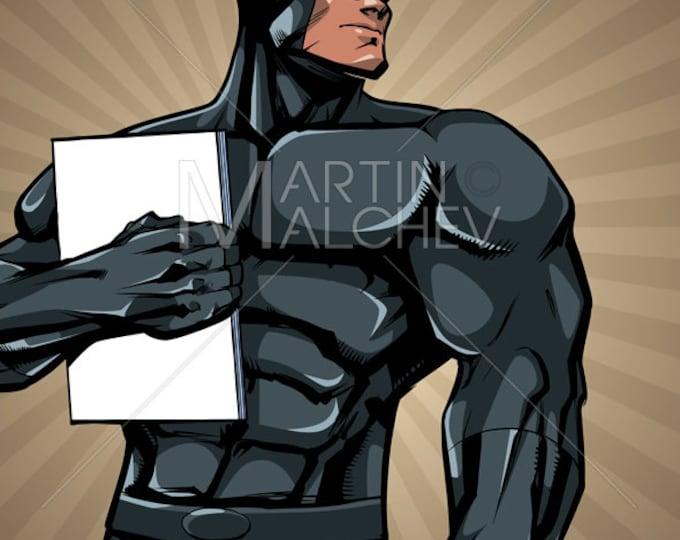 Superhero Holding Book in City Vertical - Vector Illustration. man, hero, super, powerful, power, comic, comic strip, magazine, background,