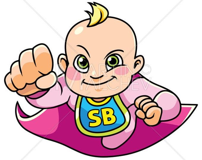 Super Baby Girl Flying - Vector Cartoon Illustration. cape, hero, super, superhero, baby, heroine, superheroine, power, powerful, flying