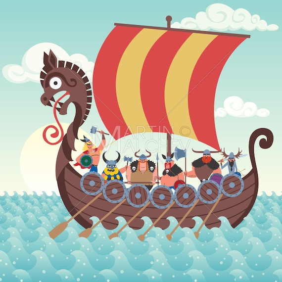 Navire Viking Vector Illustration De Dessin Animé Nordique Etsy