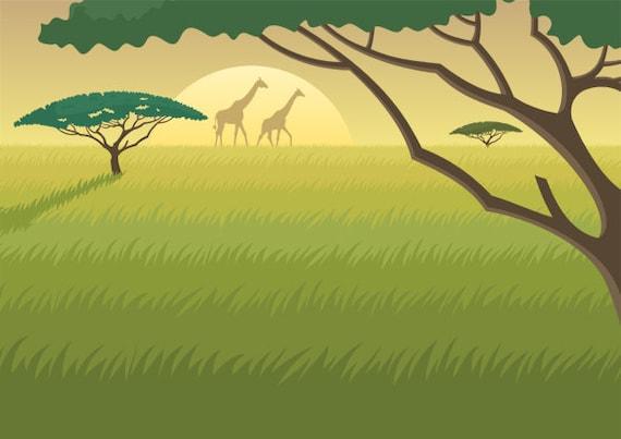Paisaje De Africa Ilustración De Dibujos Animados Etsy