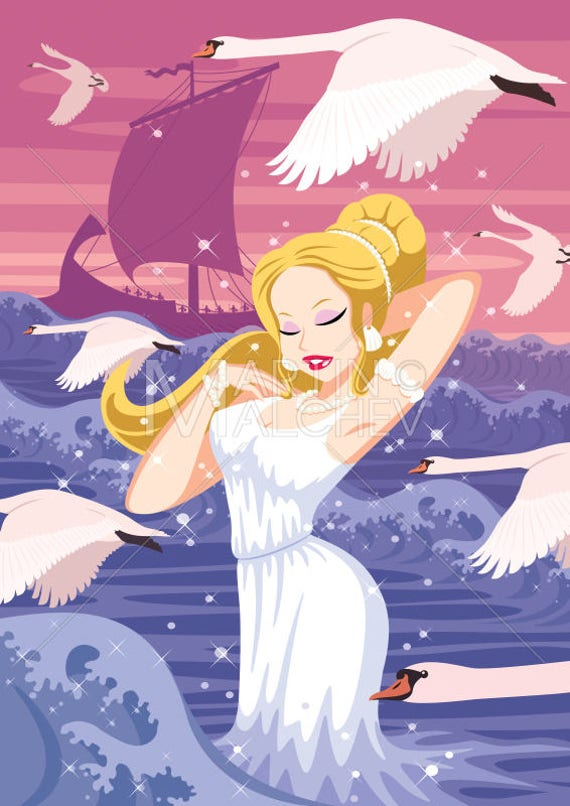 Aphrodite Vector Cartoon Clipart Illustration Venus Goddess Woman Beautiful Beauty Pretty Girl Swan Sea Ocean Greek Mythology