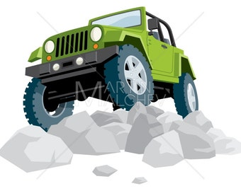 Off-Road - Vector Cartoon Illustration. off road, jeep, 4x4, car, green, tire, stone, rock, vehicle, land, extreme terrain, extreme sport