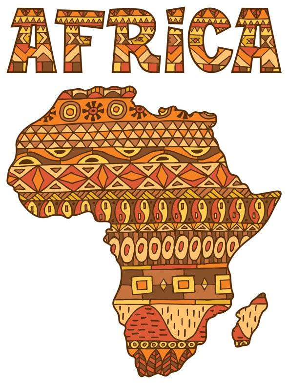 Africa Map Pattern Vector Cartoon Illustration African Etsy