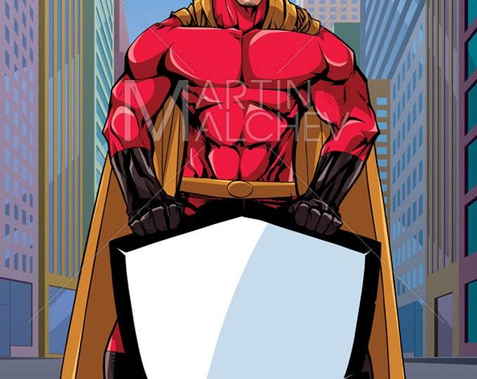 Superhero Holding Shield on Street - Vector Illustration. super, hero, man, security, background, urban scene, landscape, copy space, cape
