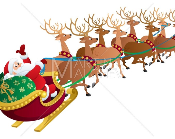Santa on White - Vector Cartoon Clipart Illustration. Santa Claus, Christmas, reindeer, deer, sled, sleigh, holiday, travel, gift, sack,
